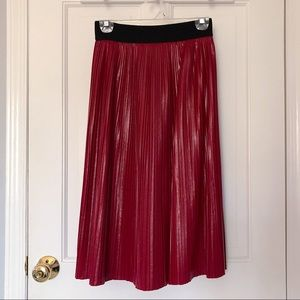Zara Red Leather Pleated Skirt